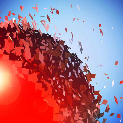 Red 3D ball with flares exploded into messy pieces