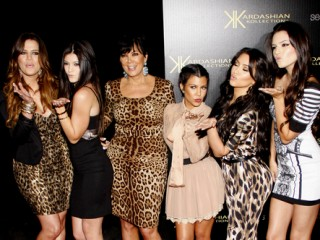 HOLLYWOOD, CA - AUGUST 17, 2011: Khloe Kardashian, Kylie Jenner, Kris Jenner, Kourtney Kardashian, Kim Kardashian and Kendall Jenner at the Kardashian Kollection Launch Party held at the Colony in Hollywood, USA on August 17, 2011.