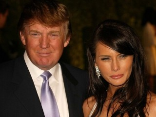 Donald Trump and Melania Knauss At the 2004 Vanity Fair Oscar After Party in Morton's Restaurant, West Hollywood, CA. 02-29-04