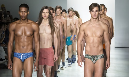 NEW YORK, NY - JULY 16, 2015: Models walk the runway during the Parke & Ronen show at New York Fashion Week Men's S/S 2016 at Skylight Clarkson Sq