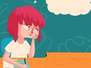 Vector illustration of a cartoon girl studying with a bored expression, next to a floating thought balloon.