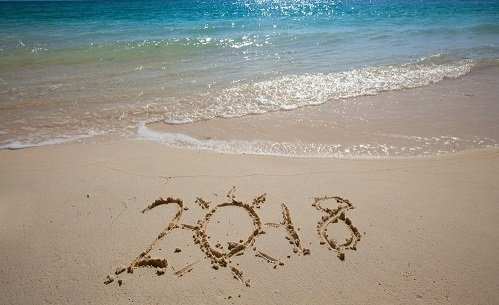 New year 2018 celebration on sea beach concept