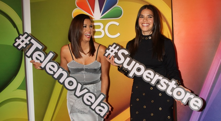 "LOS ANGELES - NOV 17:  Eva Longoria, America Ferrera at the Press Junket For NBC's ""Telenovela"" And ""Superstore"" at the Universal Studios on November 17, 2015 in Los Angeles, CA"